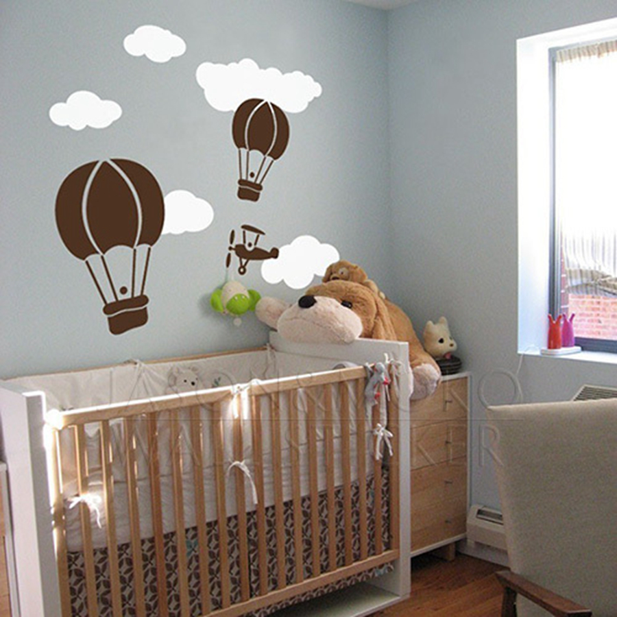 Cute Hot Air Balloon Wall Sticker Creative Balloon Clouds