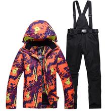 -30 Unsex śnieg garnitur nosić odzieży sportowej na świeżym powietrzu snowboard odzież zestawy wodoodporna kurtka narciarska i pas śnieg spodnie dla mężczyzn i kobiet tanie tanio ARCTIC QUEEN WOMEN COTTON Skiing Pasuje prawda na wymiar weź swój normalny rozmiar Kurtki Z kapturem Oddychające Windproof