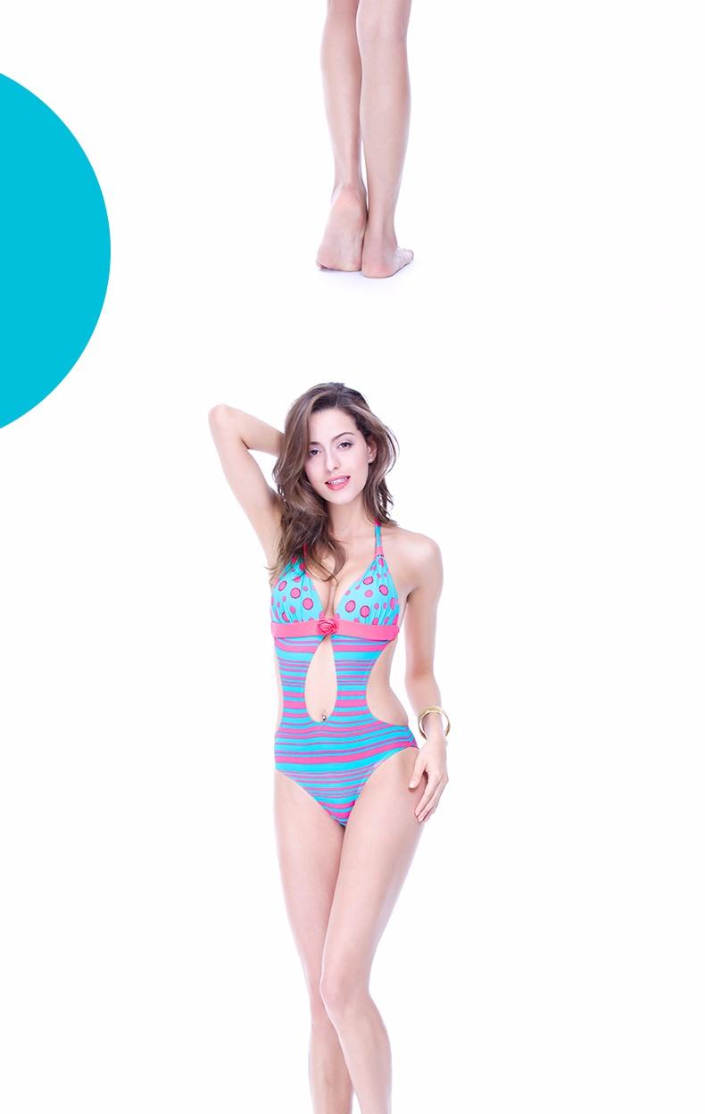 Foclassy new sexy swimsuit stripe push up plus size 3xl women swimwear one piece bathing suit with high waisted swimwear 7009 8
