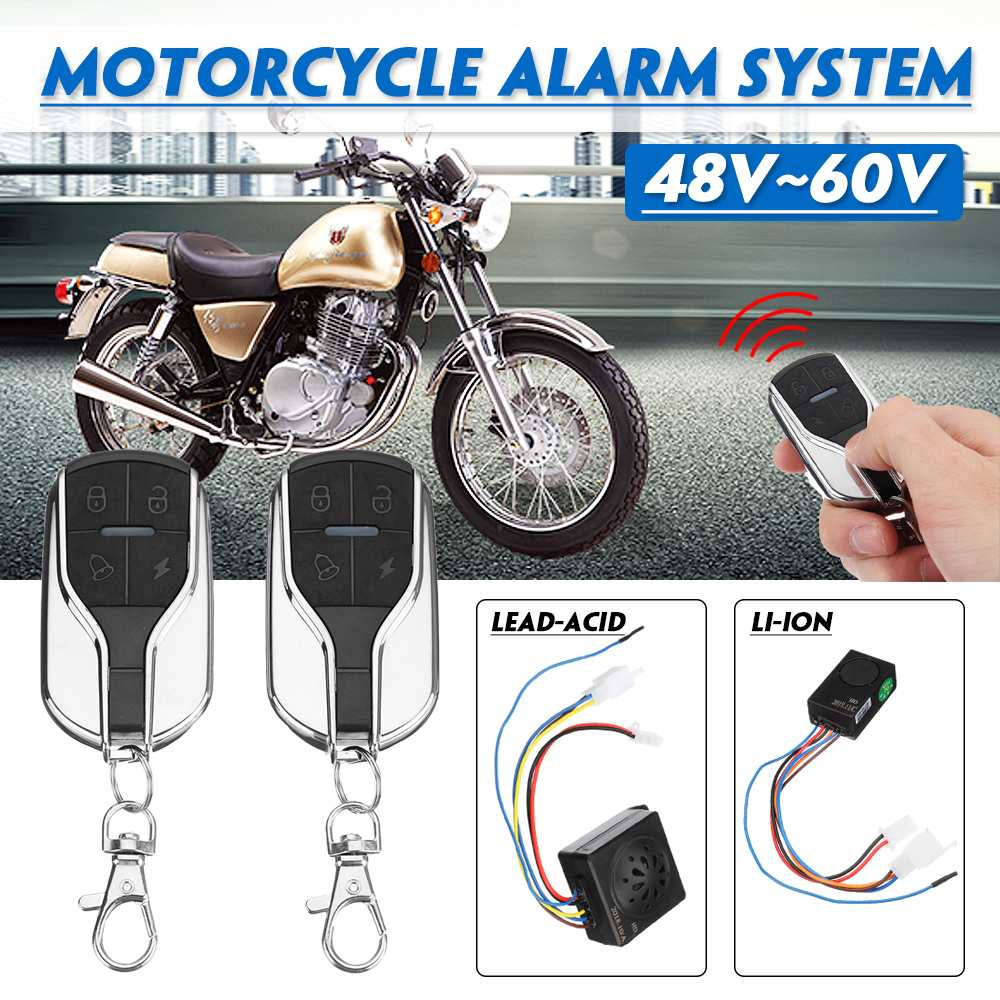 Anti-theft Alarm System 2 Remote Control 48V~60V For Motorcycle/Scooter/Autobike