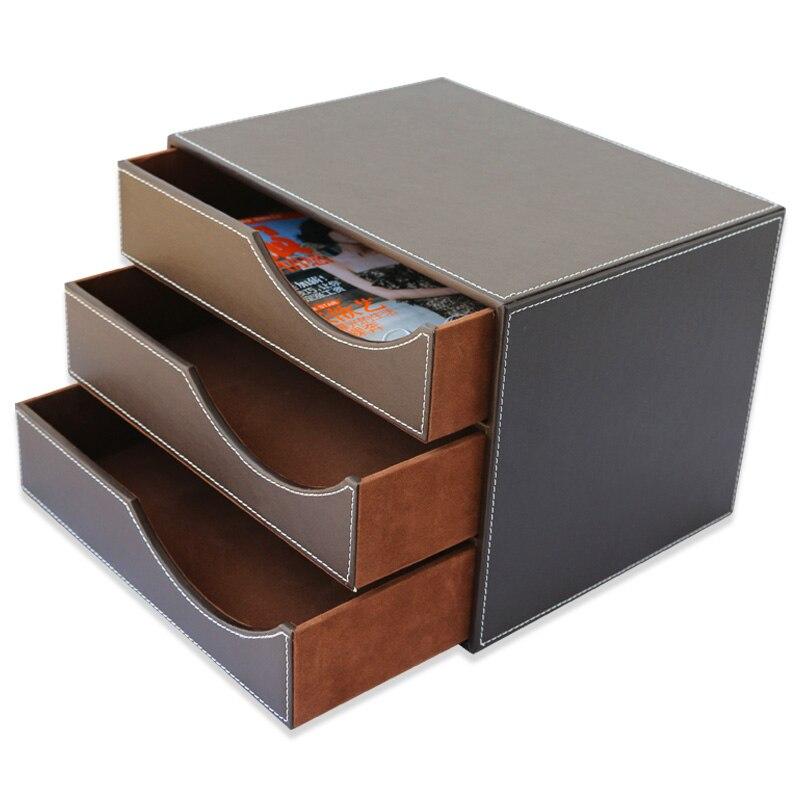 3 tiroirs en cuir PU bureau bureau classeur papier support organisateur fichier Document boîte de rangement porte revues