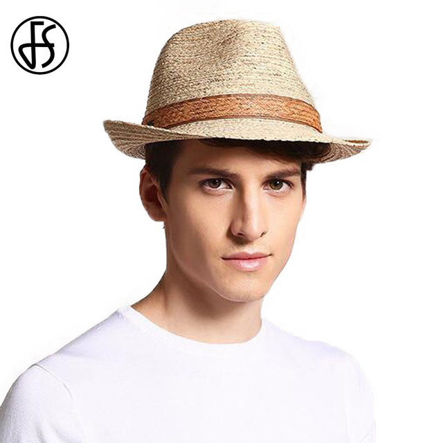 FS Unisex Fashion Men Raffia Straw Hat Panama Fedora UV Protect Summer Curl  Brim Sun Hats Male Women Beach Visor Trilby Cap 9ccc0c9bc7d