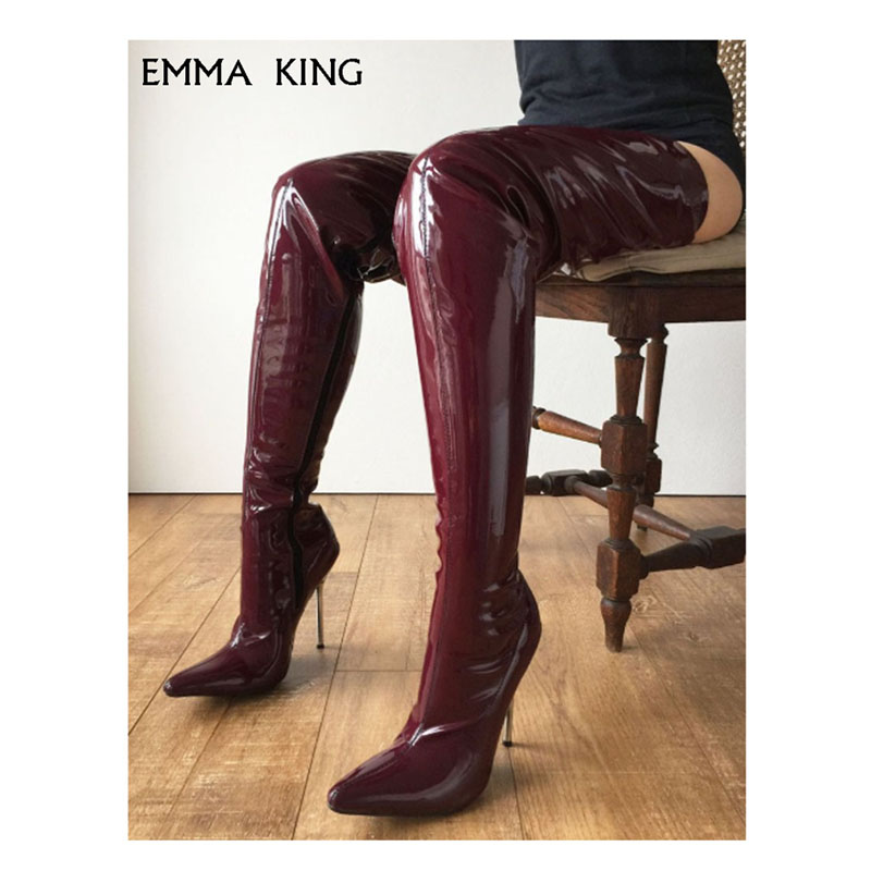 Sexy shoes woman patent leather hips plus boots 12 cm high heel pointed over the knee boots women nightclub pole dance shoes Sexy shoes woman patent leather hips plus boots 12 cm high heel pointed over the knee boots women nightclub pole dance shoes