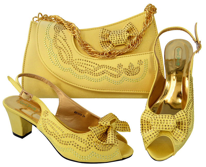 Pleasant Design Yellow Italian Shoes With Matching Bags Most Recent African Rhinestone Women's Party Shoes High heel MM1046