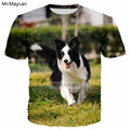 Mais inteligente Pet Border Collie 3D Impressão Tshirt Dos Homens/mulheres do Hip Hop Streetwear T-shirt Tee T camisa Meninos Roupas Bonito black Friday 2018