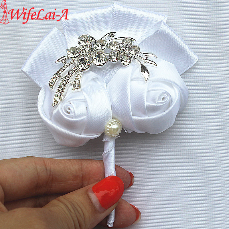 WifeLai-A Pure White Silver Crystal Bouquet Corsage Diamond Rose Flowers For Wedding Bride And Groom Flower Brooch X1103