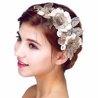 Wedding Romantic White Elegant Flower With Pearl Rhinestone Handmade Hairband Bride High Quality Bridal Vintage Hair