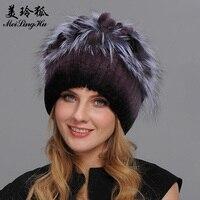 Real Rex Rabbit Fur Hats Winter Fur Hat for Women with Silver Fox Fur Flower Knitted High quality Women Fur Cap New Beanies Cap