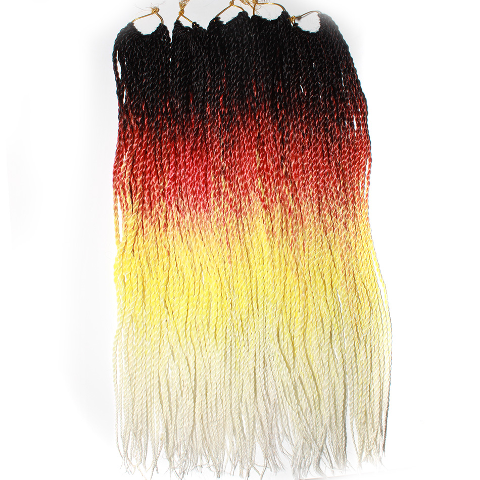 Qp волосы дюймов 24 дюймов Омбре Senegalese Twist волосы вязаный крючком ные косы 30 корней/упаковка Синтетические плетение волос для женщин серый, bonde...