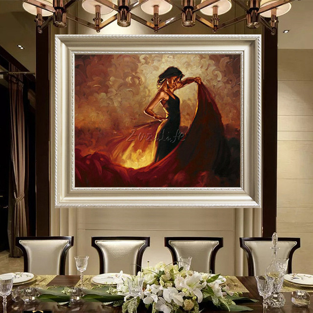 Spanish Flamenco Dancer woman Hand Painted Oil painting on canvas wall Art pictures for living room home cuadros decoracion13