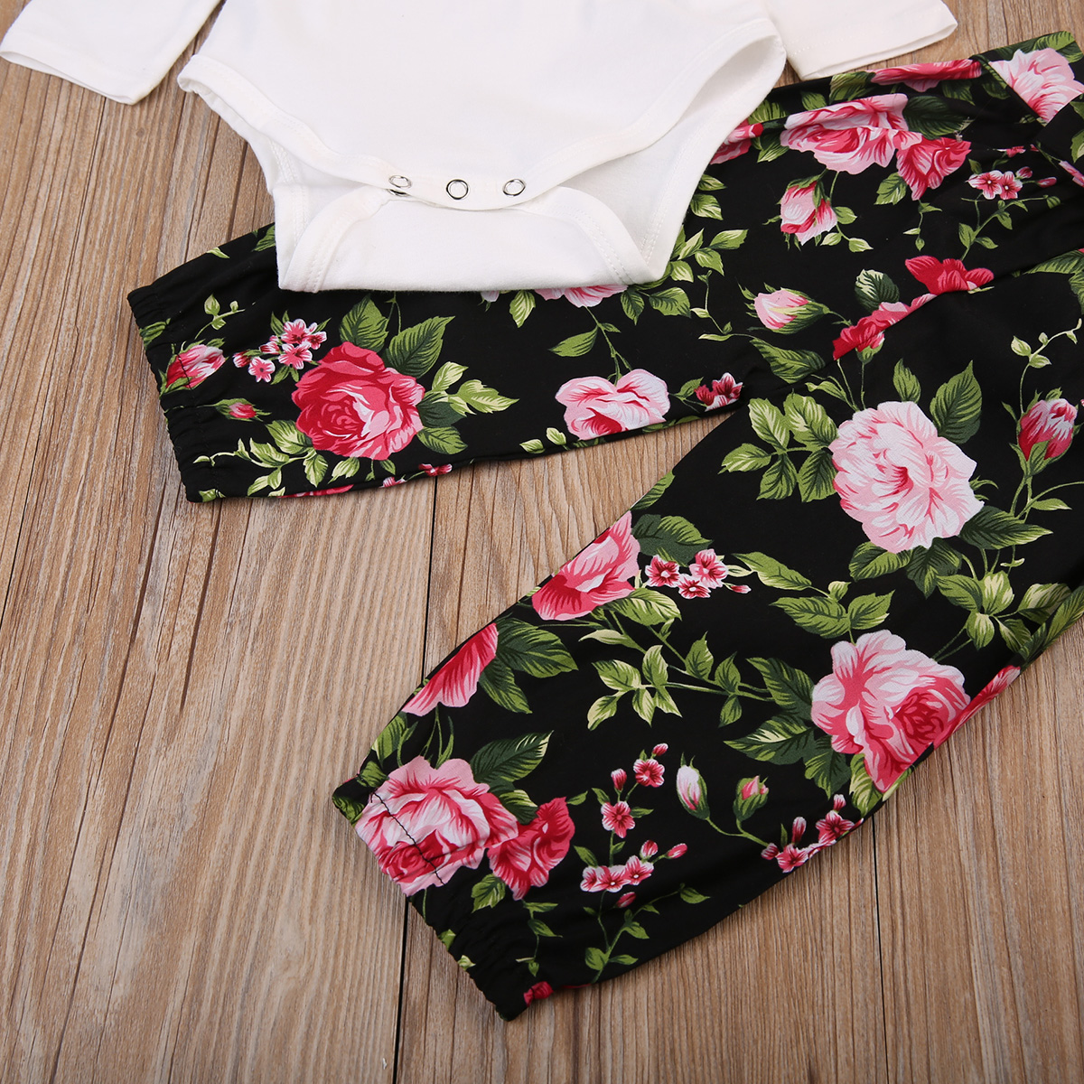 New Babies Girl 3 pcs Clothing Set Cute Newborn Baby Girls Cotton Bodysuit Tops Floral Pants Outfits Set Clothes 2019 in Clothing Sets from Mother Kids