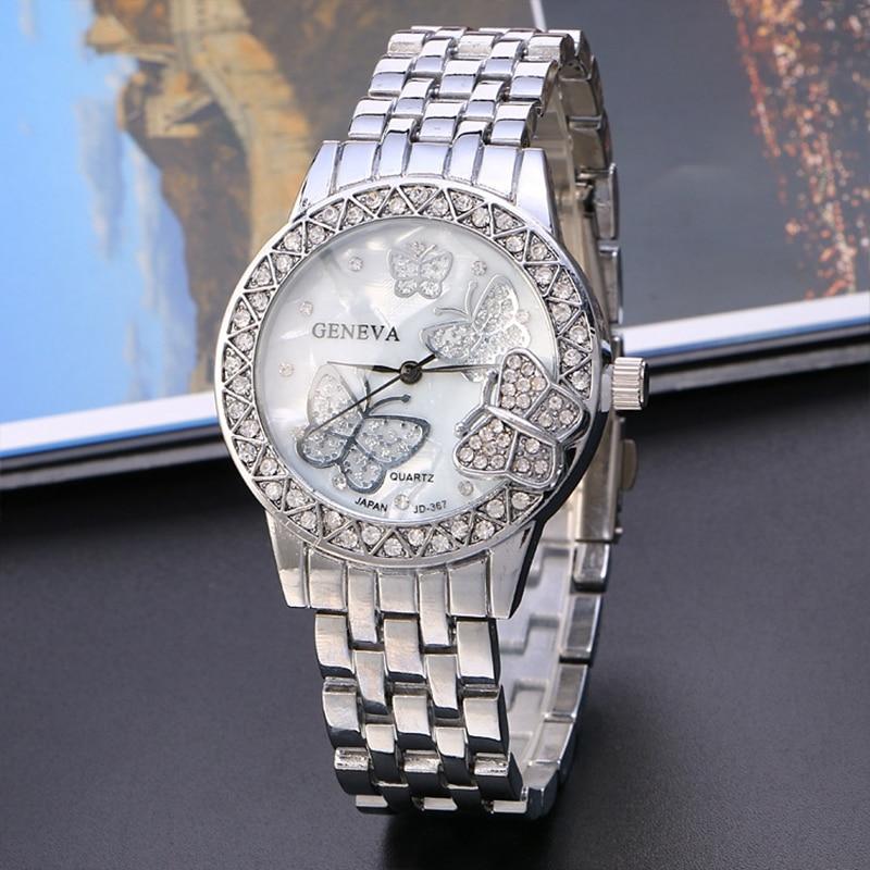 f7ec29ee31a Luxo requintado Borboleta Designer de Ouro Das Senhoras Das Mulheres Diamante  relógio de Pulso de Quartzo Dress Watch Relógio de Pulso Hodinky Ceasuri