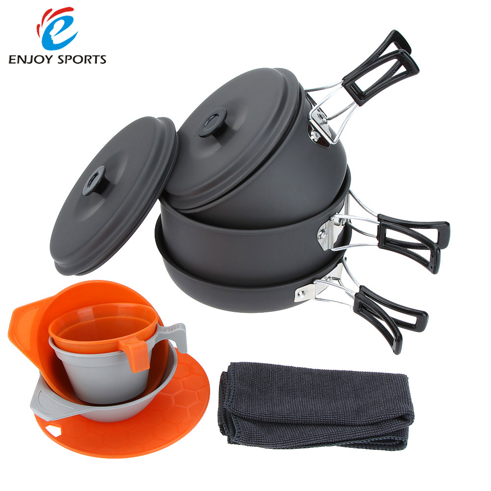 3 4 people portable camping pots pan bowls cups cutting board picnic outdoor cooking cookware. Black Bedroom Furniture Sets. Home Design Ideas