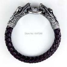 3 Size Leather Tibetan Silver Men Bracelet Titanium Fashion Vintage Jewelry