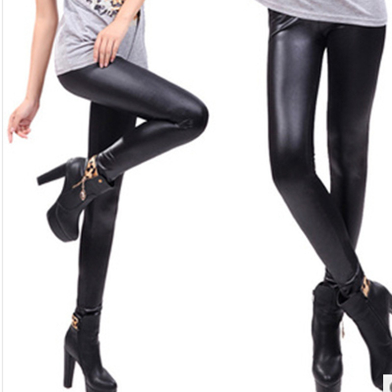 New Women leggins Faux Leather Leggings woman Fashion Low waist Stretch legging pencil Pants ladies Leggings S-XXL G0526
