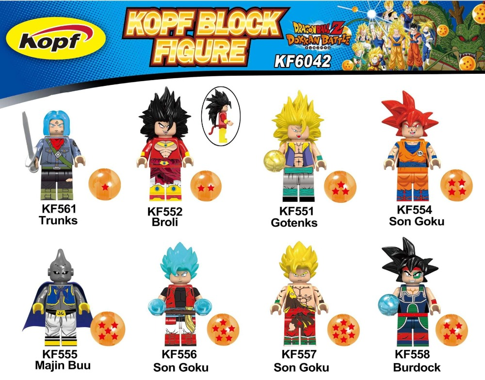 Dragon Ball Z Gotenks Broli trunks son Goku Majin Buu Action Figures Building Blocks Bricks Gift
