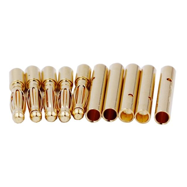 100 Pairs 2mm Gold Tone Metal RC Banana Bullet Connector Mannelijke + Vrouwelijke 20% korting