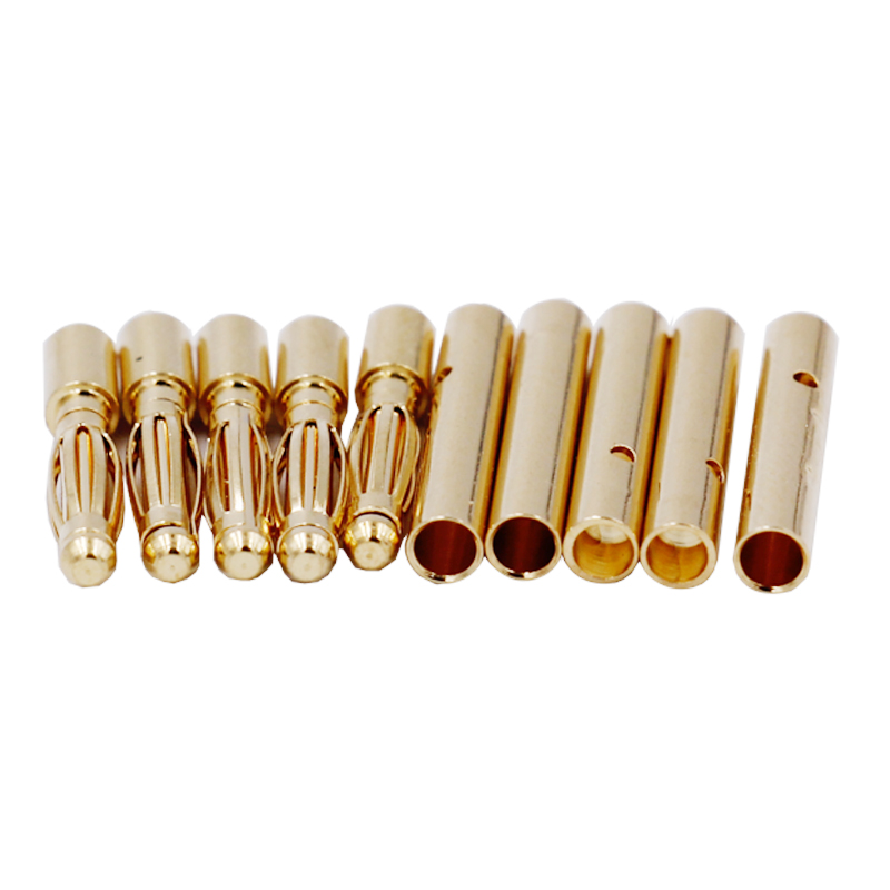 100 Pairs 2mm Gold Tone Metal RC Banana Bullet Plug Connector Male+Female  20%off