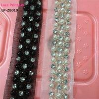 1 Yard 2CM White Black Fabric Drill Clothing Accessories Collar Flower DIY Handmade Pearl Beading Braid