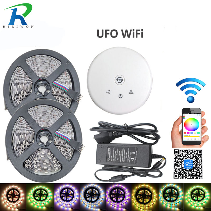 RGBW 5050 LED Strip 2*5M NoWaterproof DC 12V flexible light 60LED/M RGB+White RGB+Warm White Colors light+6A+ufo wifi controller
