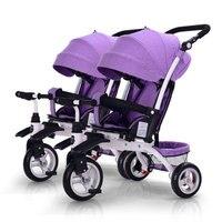 KEER kinderen baby Multifunctionele driewieler enkele twins fiets sit lie rit push baby driewieler 3 kleuren 0 ~ 6 jaar