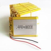Atacado 10 pçs 3.7 v 1800 mah 604050 bateria recarregável lipo de polímero de lítio células li para mp3 gps psp power bank alto falante