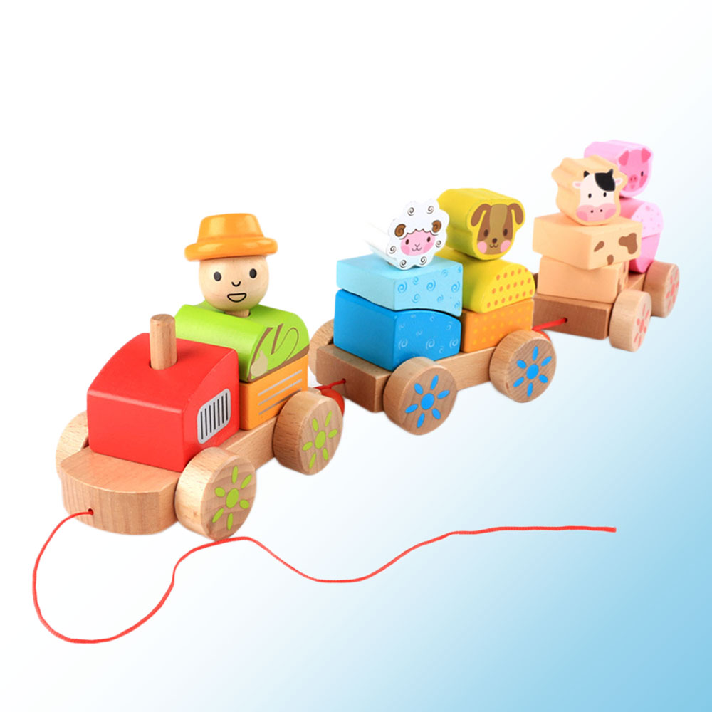 Farm Animals Three Trains Car Toy Wooden Kids Children Early Education Gifts