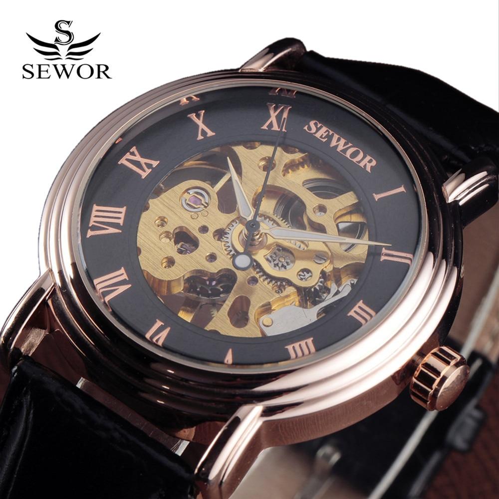 SEWOR Rose Gold Design Rome Men Watch Top Brand Luxury Erkek Saat Skeleton Mechanical Watch Male Clock Relogio Montre Homme