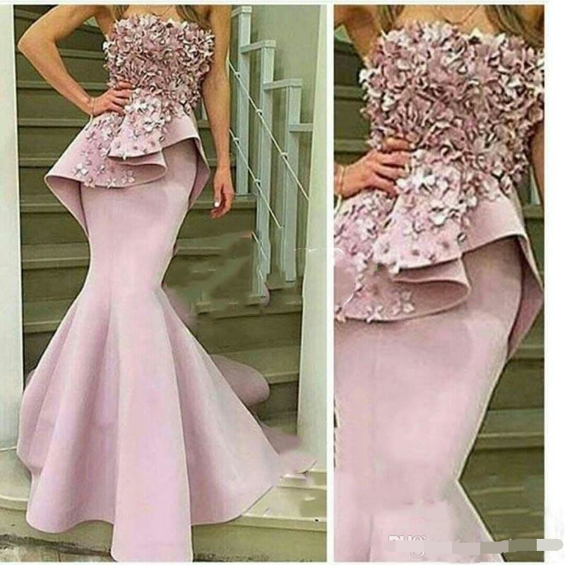 Mermaid   Evening     Dress   2019 with 3D floral Applique Strapless Flowers Long Prom   Dresses   Robe De Soiree Special Occasion Gown