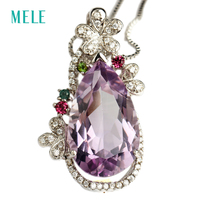 Women Fashion 925 Sterlling Silver Yellow Natural Crystal Pendant Good Quality Direct Factory Price For Wedding