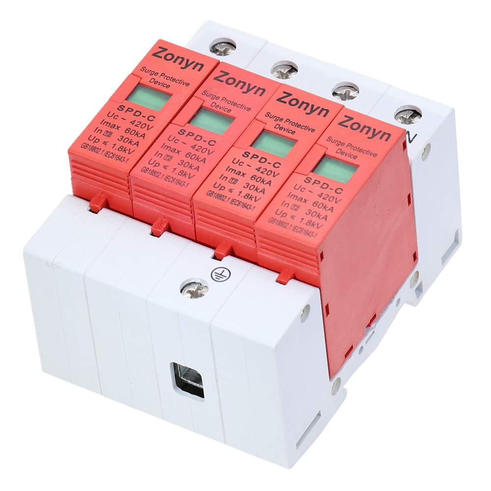 high quality 4P SPD 420V 30KA~60KA House Surge Protector Protective Low-voltage Arrester Device   3P+N