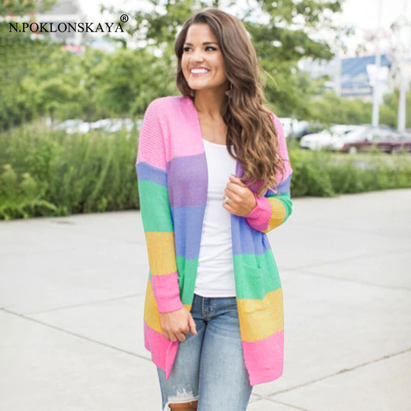 N.POKLONSKAYA Sweater for Women Lady's Sweaters Female Cardigan Jumper Patchwork Knitted Open Front Rainbow Striped Tops Coat