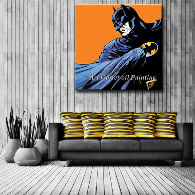 Free Shipping Hand made Modern Abstract Wall Decor Art Canvas Oil Painting Batman Pop Art painting for home decoration