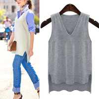 XL 5XL Plus Size Long Sweater Women Knitted Vest Ladies Front Long Back Short Fashion V