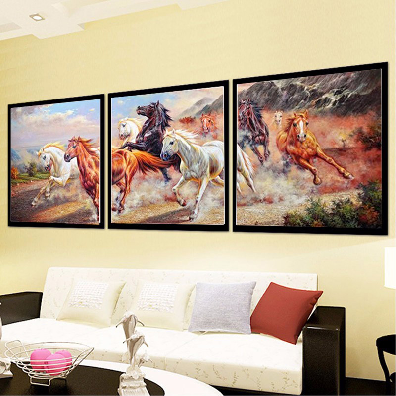 OLY Diamond painting Cross stitch Triptych Paintings Horse Diamond Embroidery Round Drill Diamond Mosaic Badges Home Decorations