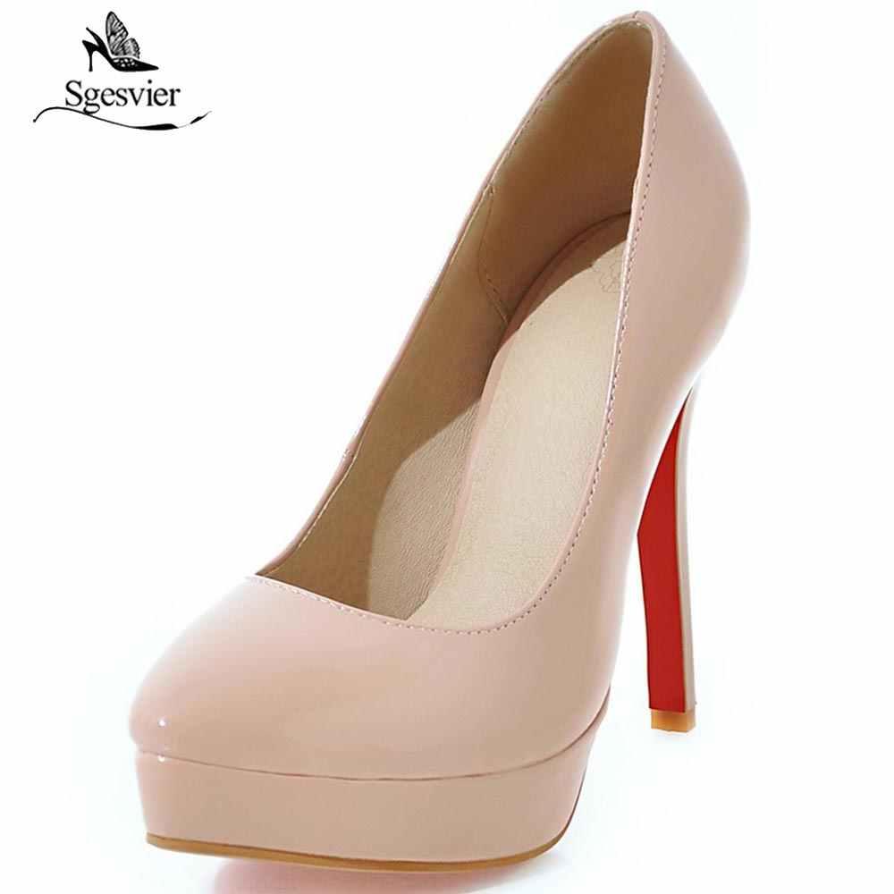 771f643de9c2 SGESVIER Sexy Ultra High Heel Women Pumps Platform Shoes Thin Heel 16cm  Round Toe Ladies Wedding