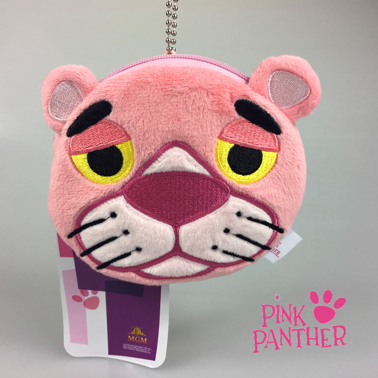 Cartoon The Pink Panther Plush animal toys Creative Funny Coin Bag Purse Pendant Children's Gift