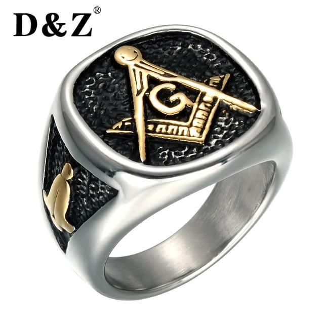D&Z Vintage Gold Color Men Masonic Ring Casting 316L Titanium Stainless Steel Freemasonry Masonic Rings for Men Jewelry