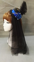Victorian Mini Top Hat With Feather Blue Red Rose Handmade Goth Steampunk Gear Skull Chain Veil