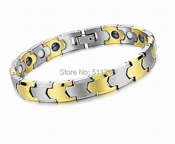 Health Care Energy Magnetic Stone Radiation Protection Anti-Fatigue Bracelet Tungsten Steel 18K Gold-Plated Bracelets Jewelry - Ancient And Modern Craft Ornaments CO.,LTD store