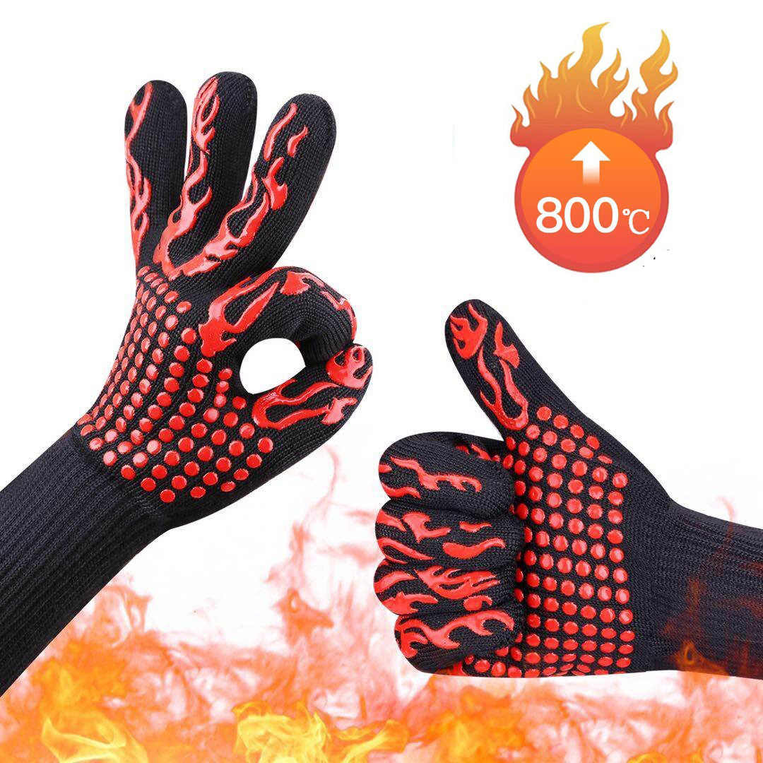 GEEAIR High temperature Resistant 800 BBQ Fire Gloves Flame Retardant Non-slip Fireproof Grill Insulation Microwave Oven Gloves
