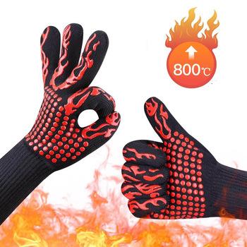 GEEAIR odporna na wysokie temperatury 800 BBQ rękawice przeciwpożarowe ognioodporne antypoślizgowe ognioodporne Grill izolacyjne rękawice do kuchenki mikrofalowej tanie i dobre opinie Double-layer high temperature resistant gloves Ręcznie typu rękawice 2001 China 28-35cm 150g Oven microwave oven fire