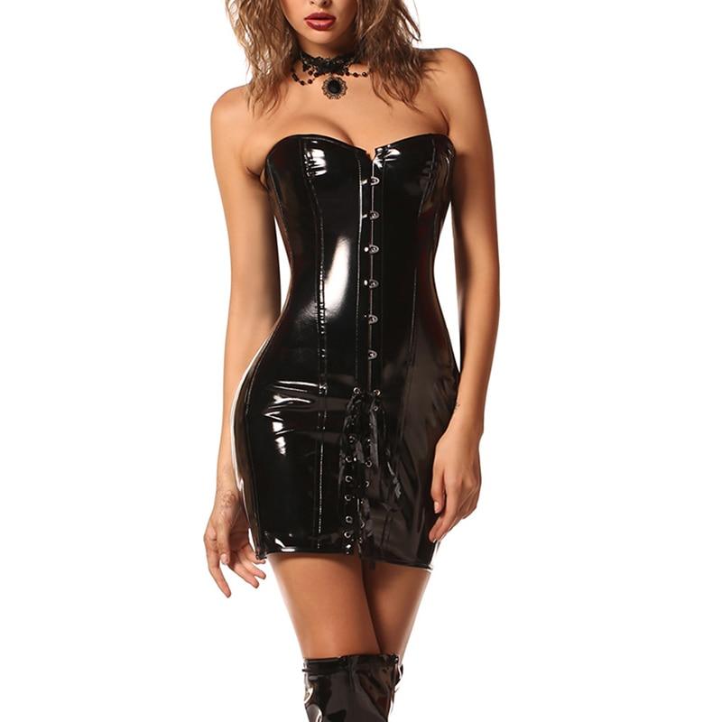 Red Black Wetlook Vinyl Leather Corset Dress Women Womens Corset Dress Gothic Steampunk Vintage Club Halloween Party Bustiers-in Bustiers & Corsets from Underwear & Sleepwears on AliExpress