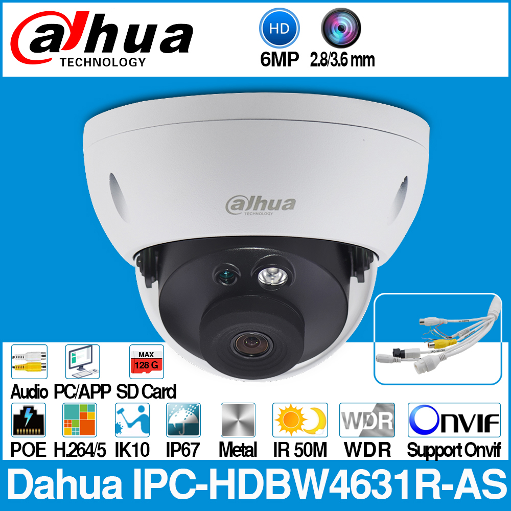 Dahua IPC HDBW4631R AS 6MP IP Camera POE IK10 IP67 Audio in/out & Alarm SD Card Slot Upgrade from IPC HDBW4431R AS with logo-in Surveillance Cameras from Security & Protection