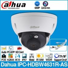 Dahua IPC HDBW4631R AS 6MP IP המצלמה POE IK10 IP67 אודיו ב/החוצה & מעורר SD כרטיס חריץ שדרוג IPC HDBW4431R AS עם לוגו