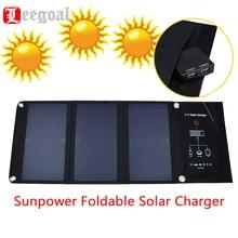 kobwa 21W 5V Sunpower Foldable Solar Charger Dual USB Output 3500mAh Outdoor Solar Panel Sunpower Folding Solar Panel Charger