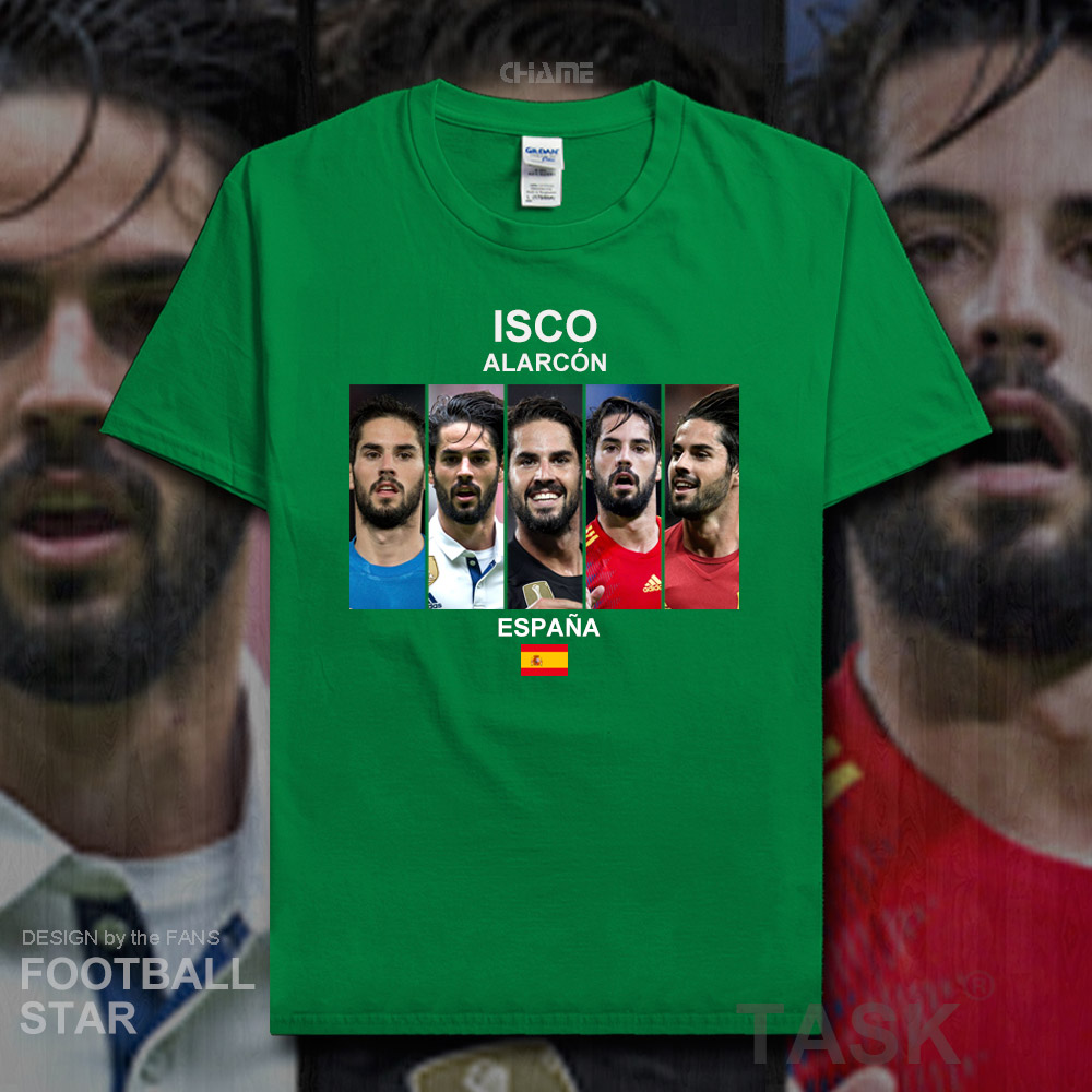 7eaa2c6cc2fd Camiseta Isco 2018 jerseys España fútbol Real estrella Camiseta 100%  algodón fitness camiseta ...