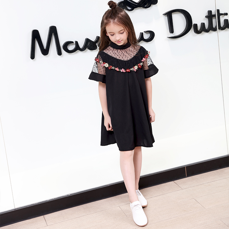 2018 Kids Mesh Lace Elegant Girls Embroidery Floral Dress Summer Clothing Fashion Vintage Dress For 8 9 10 11 12 13 14 Years Old