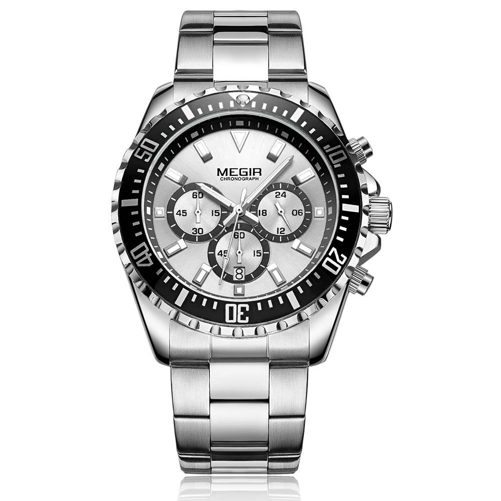 <font><b>MEGIR</b></font> Military Watch Men Top Luxury Chronograph Stainless Steel Quartz Wristwatches 30M Water Resistant Clock Male Gifts image