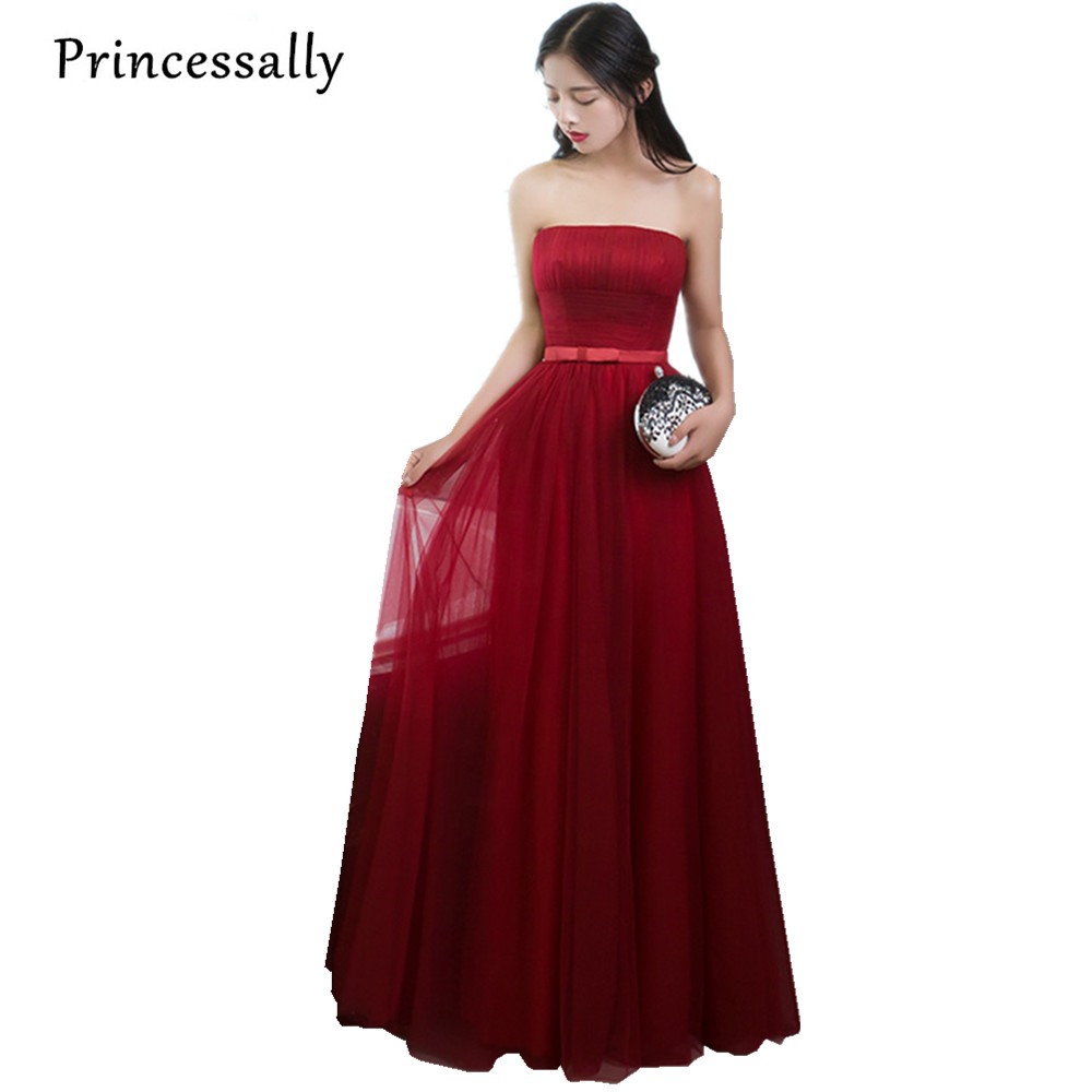 Vestidos New Wine Red Bridesmaid Dresses Floor Length Strapless Off the Shoulder Elegant Bride Cheap Prom Party Dresses Under 50